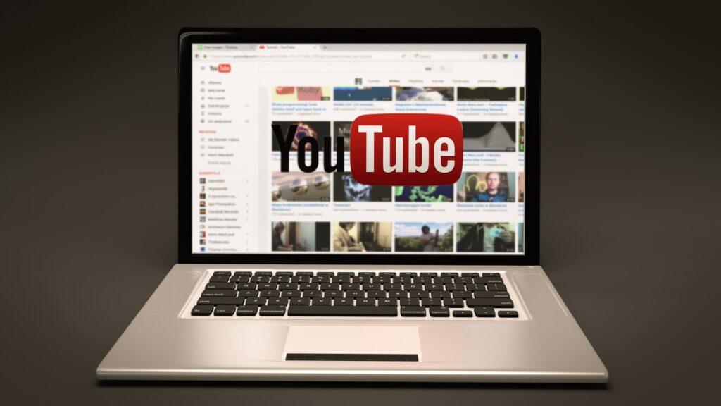 laptop showing youtube homepage