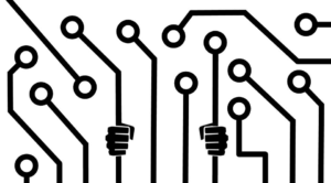 diagram of a circuit board with fists suggesting prison bars