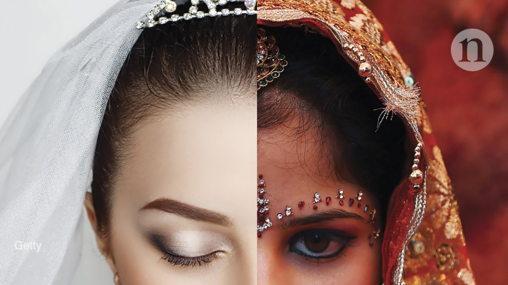 half the face of a western bride and an Asian bride spliced together