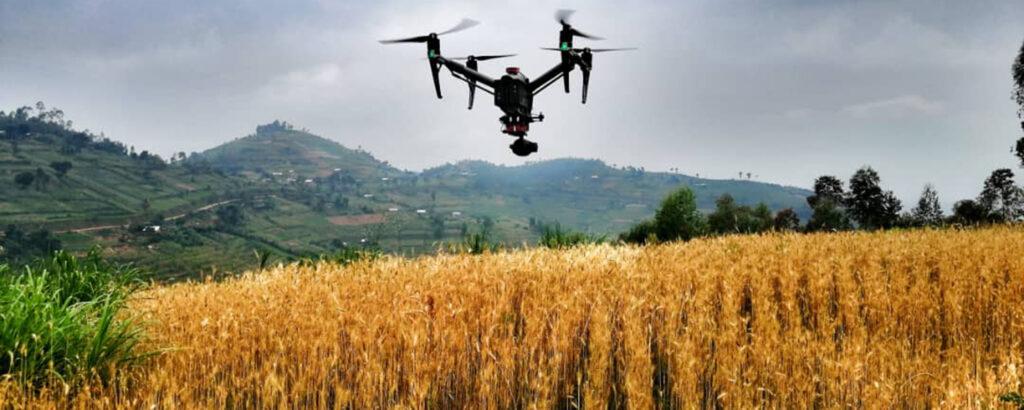 Drone flying over crops in Rwanda