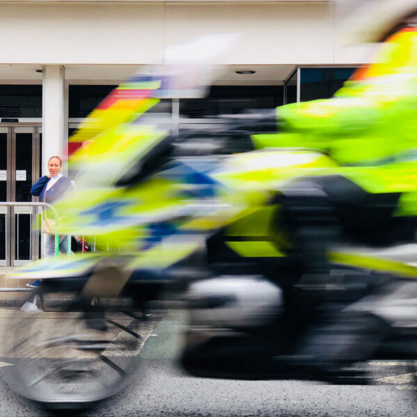 blurred image of police motorcycle
