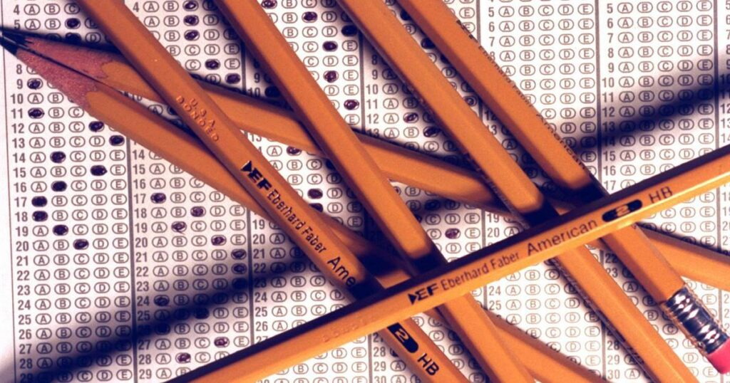 pencils on an exam paper