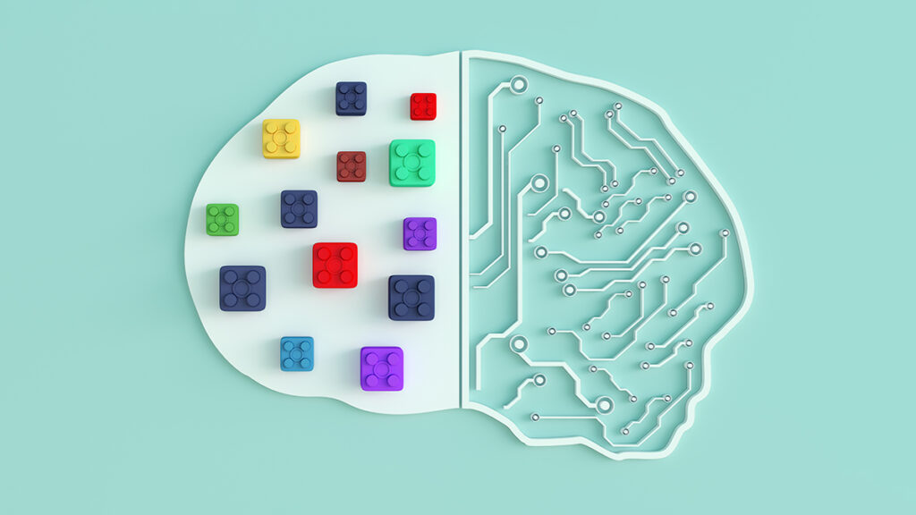depiction of a brain using lego and circuitry