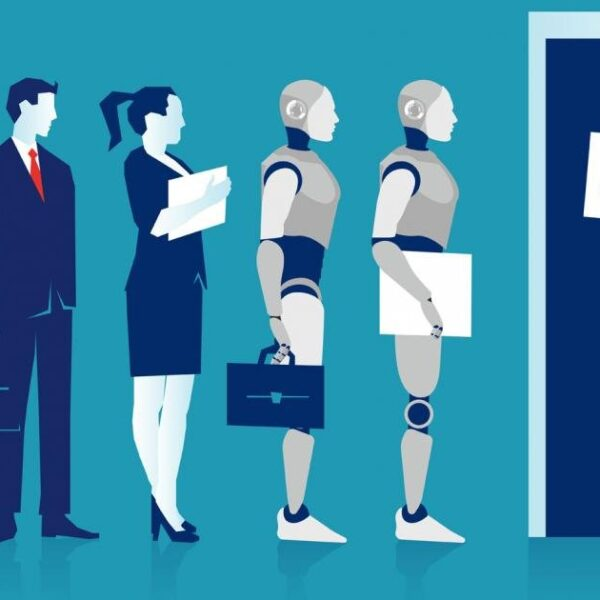 robots and humans queuing for a job