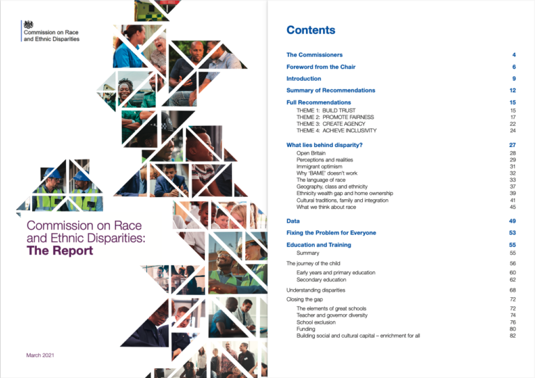 Title page and table of contents of the Commission of Race and Ethnic Disparities report 2021
